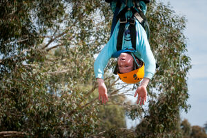 Child upside on Giant Swing