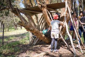 Kids adding more logs to their bush hut
